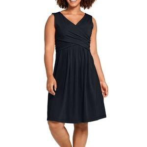 Lands' End Sleeveless Wrap Fit N Flare Dress Black